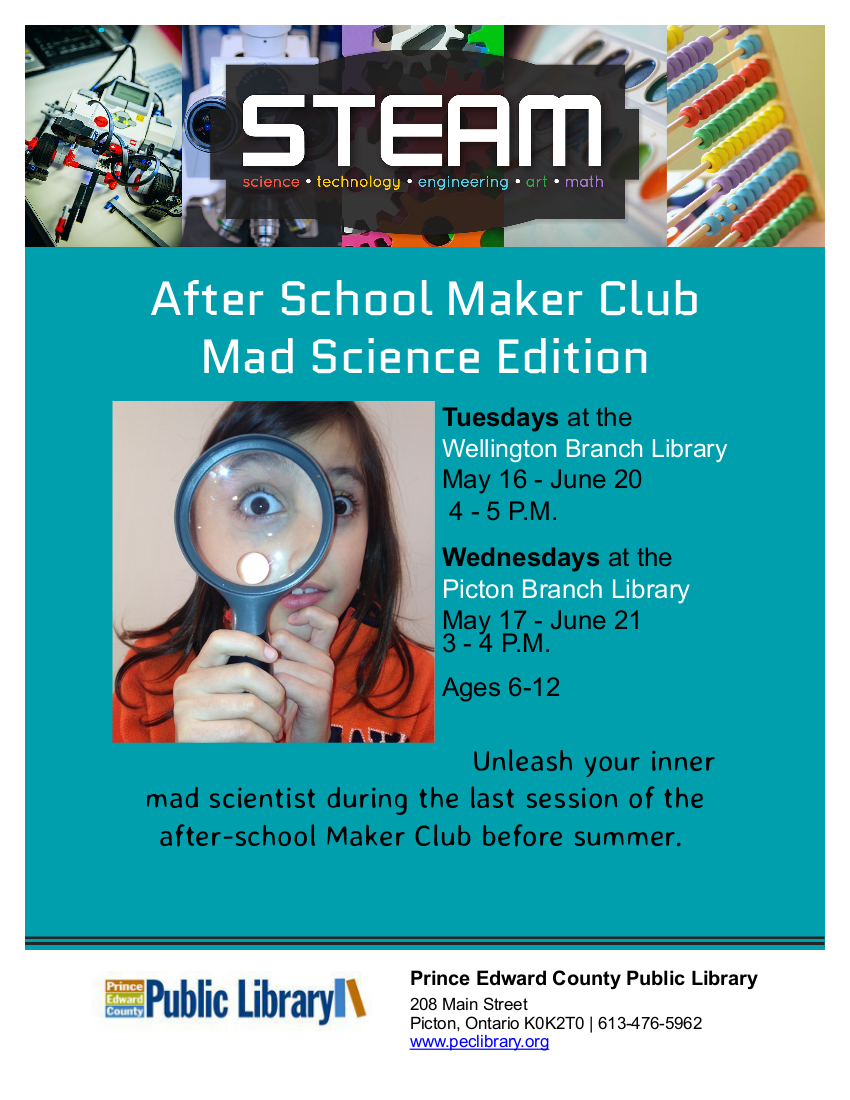Mad Science Maker Club: Wellington – Prince Edward County Public Library